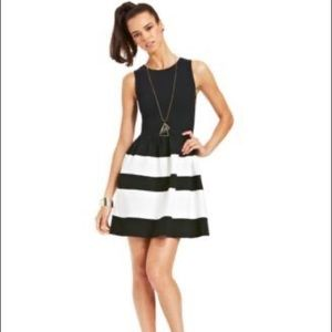 Bar III Black and White Striped Dress
